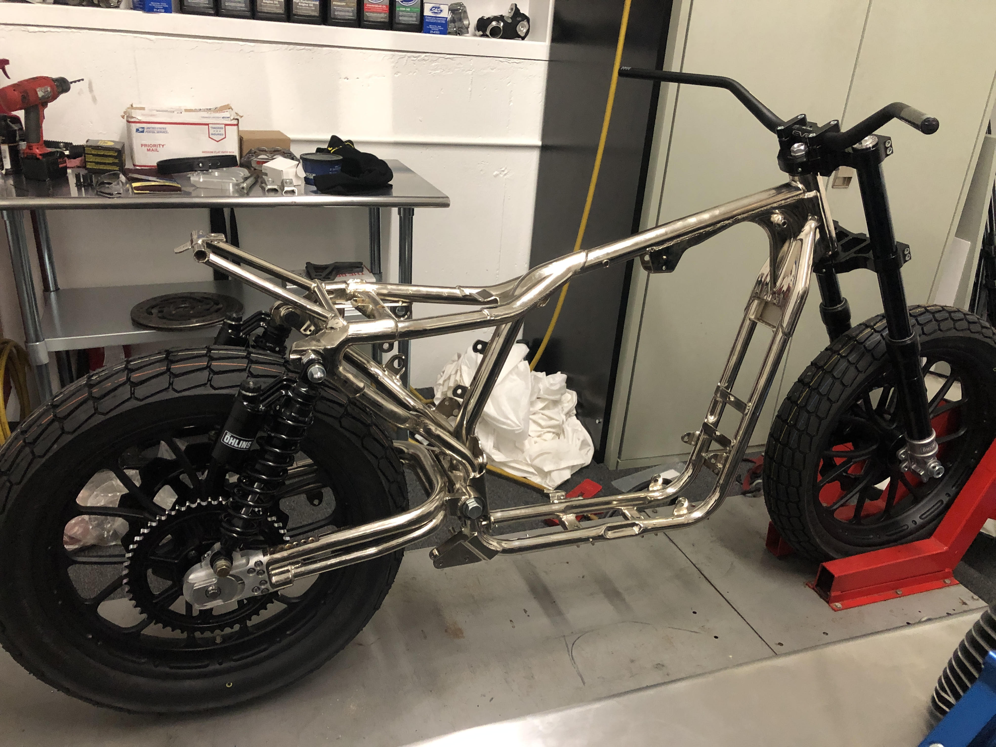 Deathtracker as a nickel plated rolling chassis thanks to AIH Chrome.
